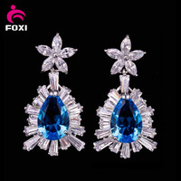 Dubai Gold Jewelry Earring 18k Gold White Gold Plated Stud Diamond Earring