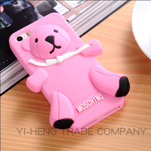 New Hot Selling Crystal brown 3D cute luxury silicone Teddy Bear case for iphone5 5s fashion silicon cover