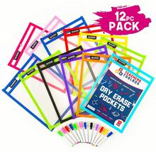 Dry Erase Pockets Reusable Clear Plastic Sleeves with Mark School & Classroom Supplies for classroom organization pocket