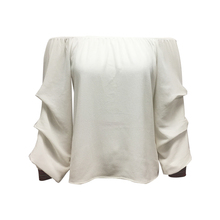 New Fashion Women 100% Polyester Latest Cutting Design Open Shoulder Long Frill Sleeve White Color Blouse with Embroidered Cuffs