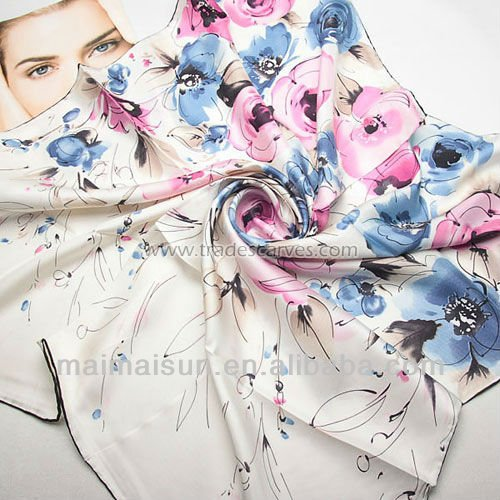 women fashion square floral embroidered silk scarf 2015