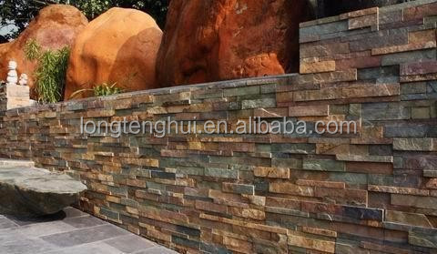 natural slate ledge stacked stone panels wall cladding