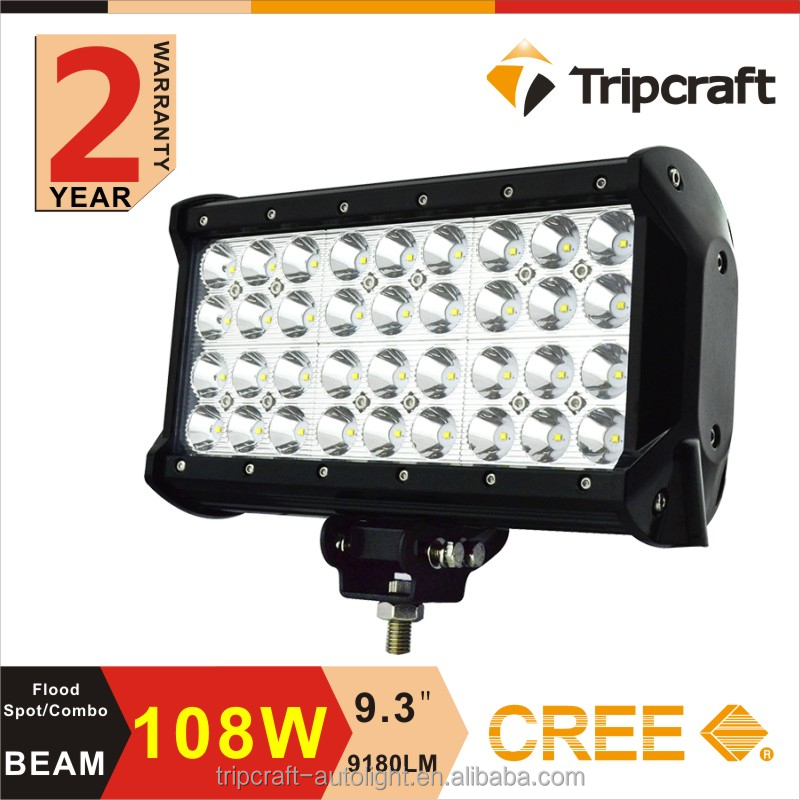 "Factory Price!!108W 9"" Quad Row LED Light Bar 12v Work Lamp Spot Offroad Mining Truck,Wholesale led car lights"