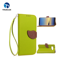 Creative Top Sale For Samsung Galaxy Note 8 Funny Leaf Buckle Leather Case , Biocolor Mobile Back Cover