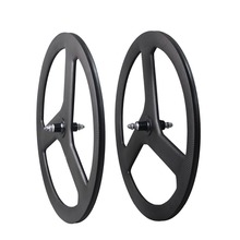 Good quality Tri-spoke bike wheels carbon 3 spoke fiexed gear track carbon bicycle wheel