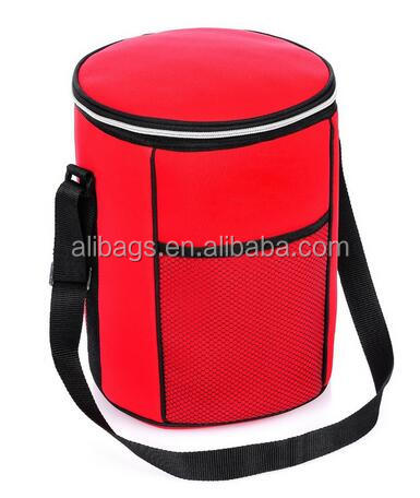 Polyester barrel-shaped insulated round lunch cooler bag