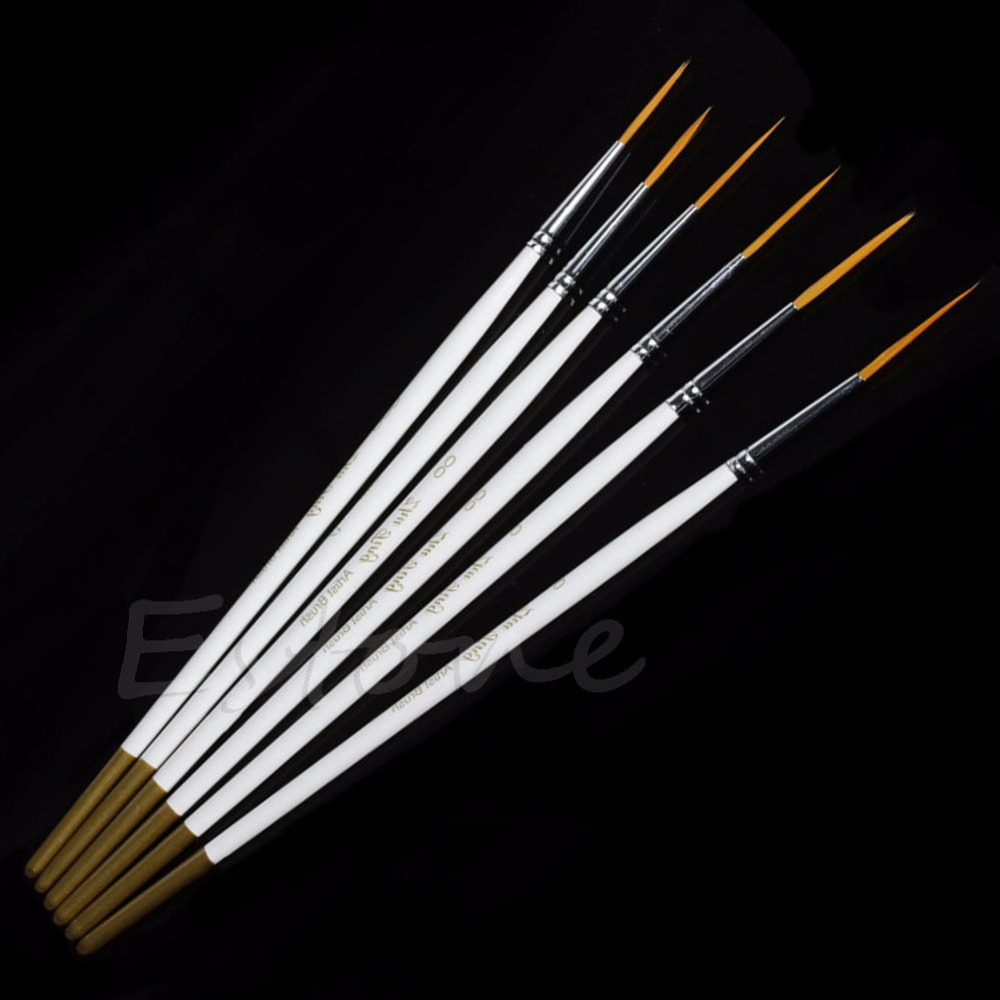 Hot 6Pcs/Set Nylon Hair Round Paint Brush Hook Line Pen Artist Draw Painting Craft -Y102