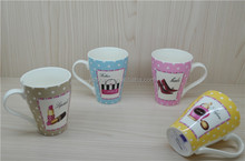 gift item for lady girl friend luxury make up design a couple coffee mug 12OZ with chocolate shave and spoon coaster