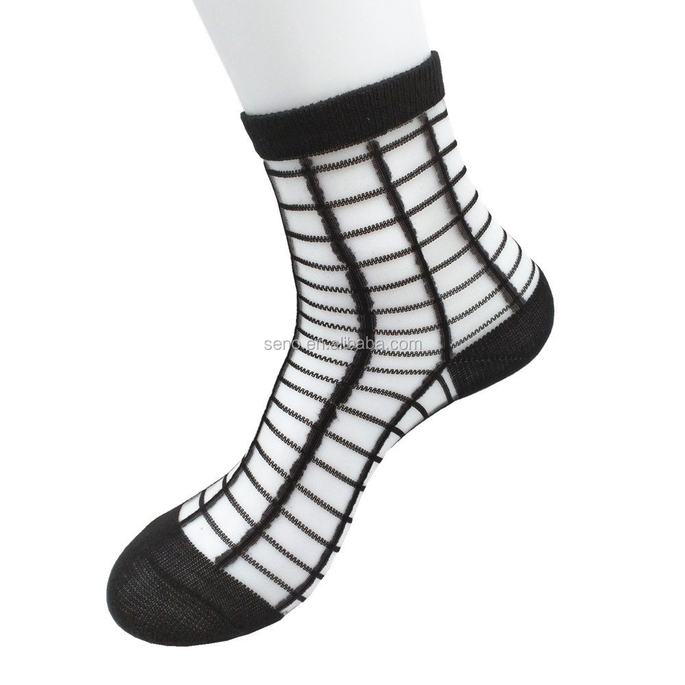 Popular hot sale good quality summer thin transparent ankle socks beautiful and sexy stock socks for women