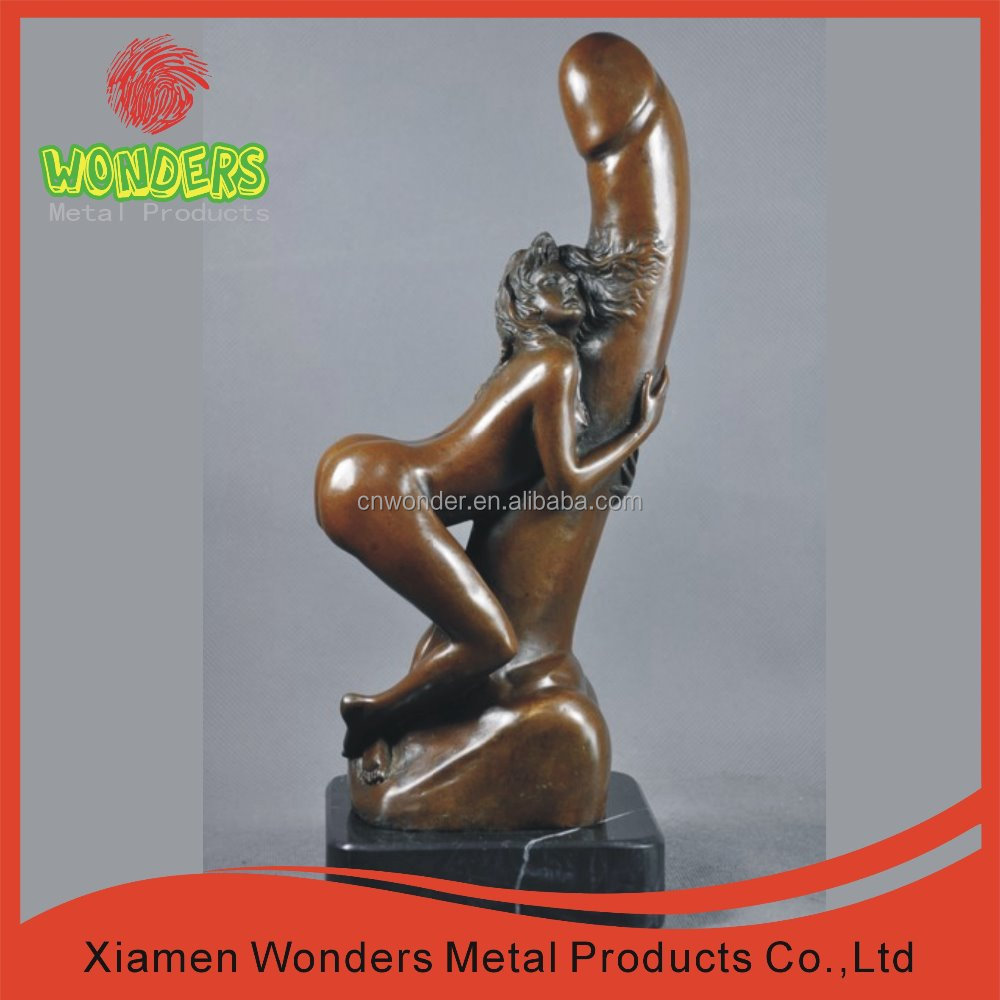 Sexy naked woman, copper sculpture