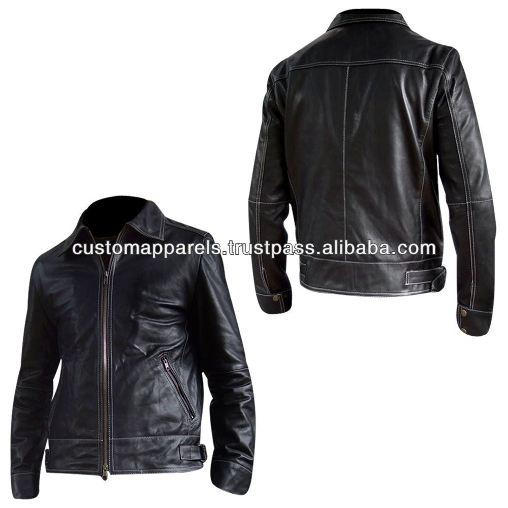2014 Top Quality Black Soft Thin Leather Jacket For Men