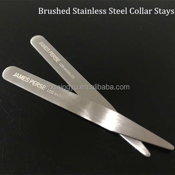 Brushed Metal Collar Bone Engraved LOGO,Silver Collar Stiffeners ,Metal Collar Stays Wholesale