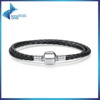 european style 925 sterling silver braided rope leather bracelet