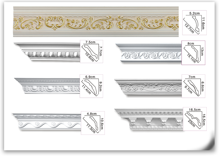 Big size polyurethane ceiling decorations cornice plain frame moulding