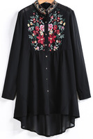 Blouses Tops fashion women girl clothes Black Long Sleeve Embroidered Dipped Hem Blouse