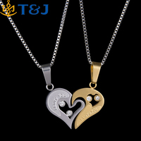 S>>>>2016 New Valentine's Day Gift alloy gold silver plated fashion couples lovers Heart pendant Necklace/