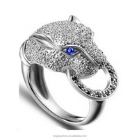 Leopard jewelry with luxury LSR045 zircon Blue/Black Eyes Factory Wholesale white gold plated rings Silver Ring