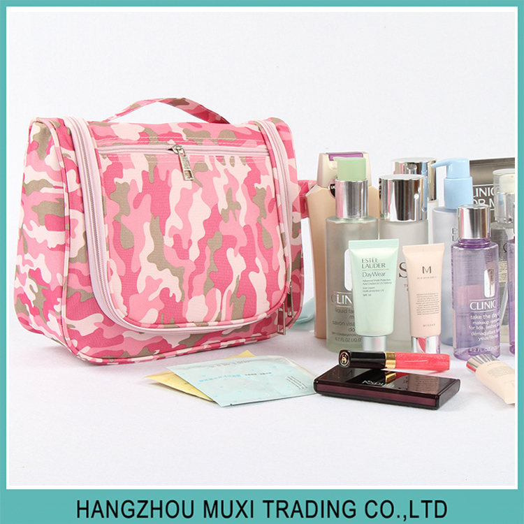 Fashion hanging polyester camouflage portable travel wash bag cosmetic makeup organizer