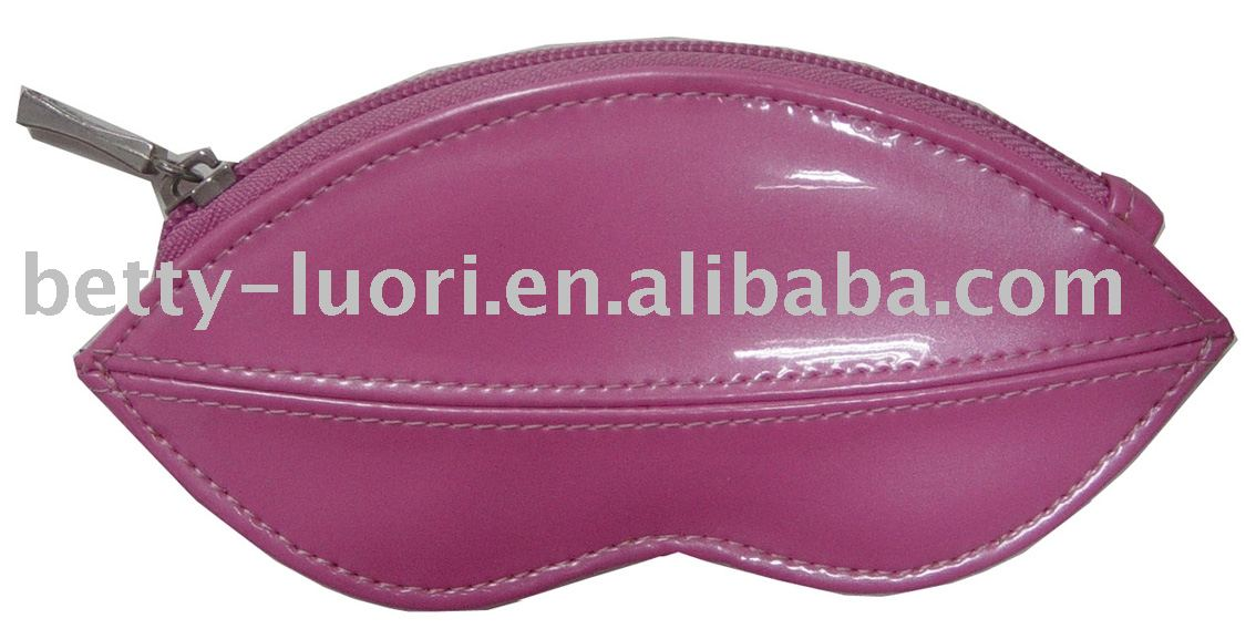 100%pu lips shape coin purse