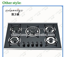 Kitchen glass built-in cast iron grate gas stove/gas cooker
