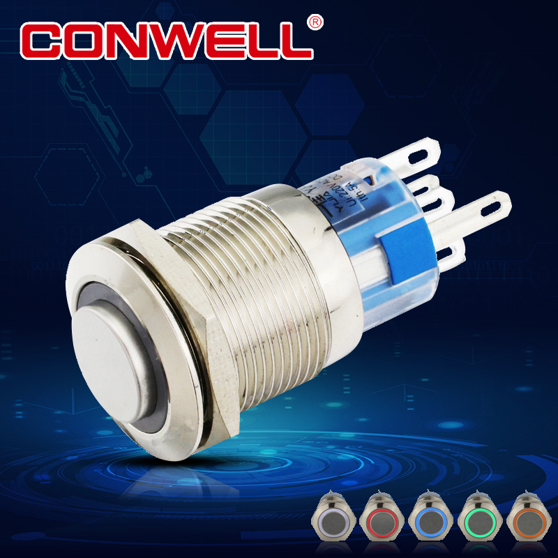 12v waterproof micro ring type illuminated momentary push button switch