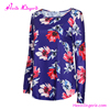 Wholesale Fashion Lady Long Sleeve Printed Purple Saree Long Sleeve Blouse