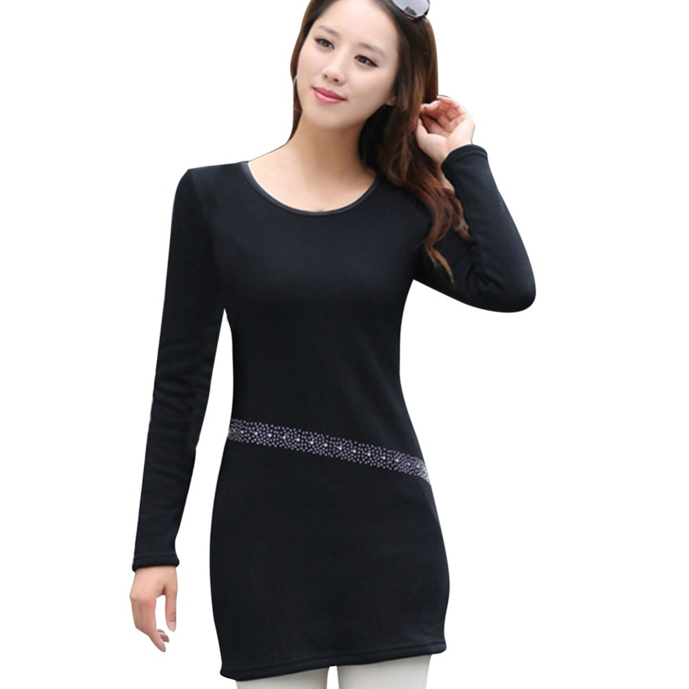 Get Quotations · Black Color Hot Drilling Design Lady Charm Dress Big Size  L-4XL New Autumn Korean 45a7e69552c2