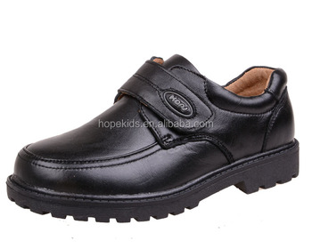 Hot Sale Black Flat Students Kids School Shoes With Leather