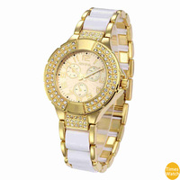Fathers Day Gift Geneva Yellow Gold Tone Classic Round Men's Watch. Faux Chronograph Design.