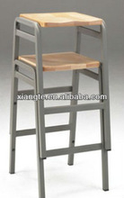 Single seat metal frame and wooden student chair unit/School Furniture/Student stools