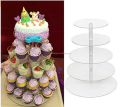 Round Clear Acrylic Cupcake Stand Wedding Display Cake Tower 5 Tier