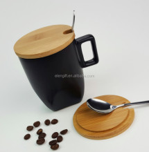 New product Ceramic coffee cup with wooden lips for promotion/Hot sale custom 300ml ceramic mug tea cup with good price