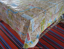 London Map Design PVC Coated Cotton Tablecloth/Plastic PVC Table Cover