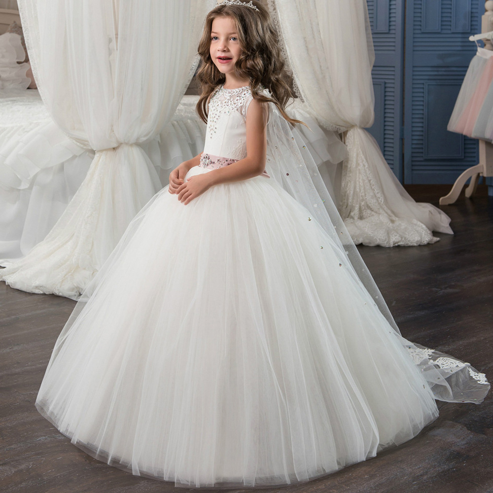 ZHF137 Lovely White Lace Wedding Tutu Princess Dress Flower Girl Dress With Train
