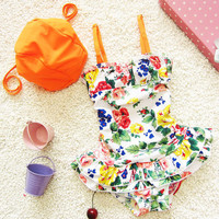 New Arrival One Pieces Girl Swimwear Summer Children Princess Floral Beach Bathing Suit Kids Swimming Bikini SR81216-28