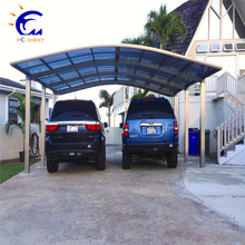Top quality lightweight aluminum carport with three standing pillars