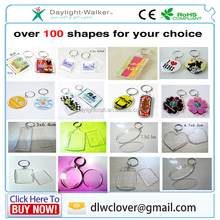 Promotion Gifts PLastic Clear Acrylic Blank photo insert Keyring Insert Photo frame Keychain keyring