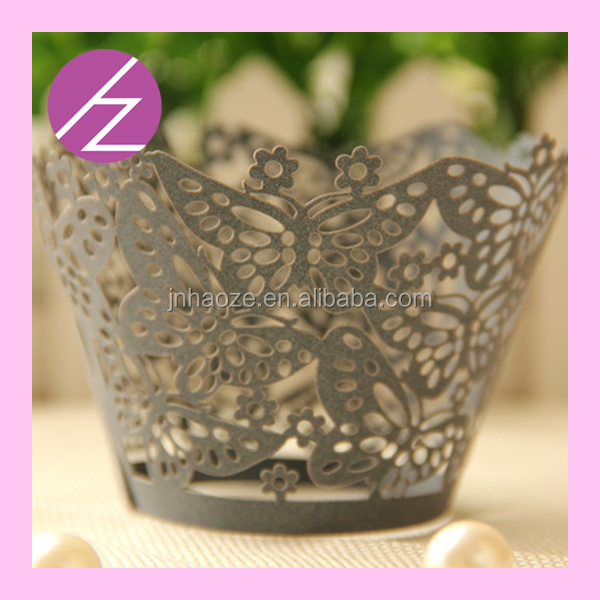 2016 wholesale Wedding Birthday Hoilday Party Supplies carving butterfly design Laser Cut Cupcake box Wrappers Cake Cup Wraps