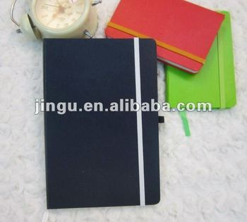Notebook with elastic band and the leather paper cover