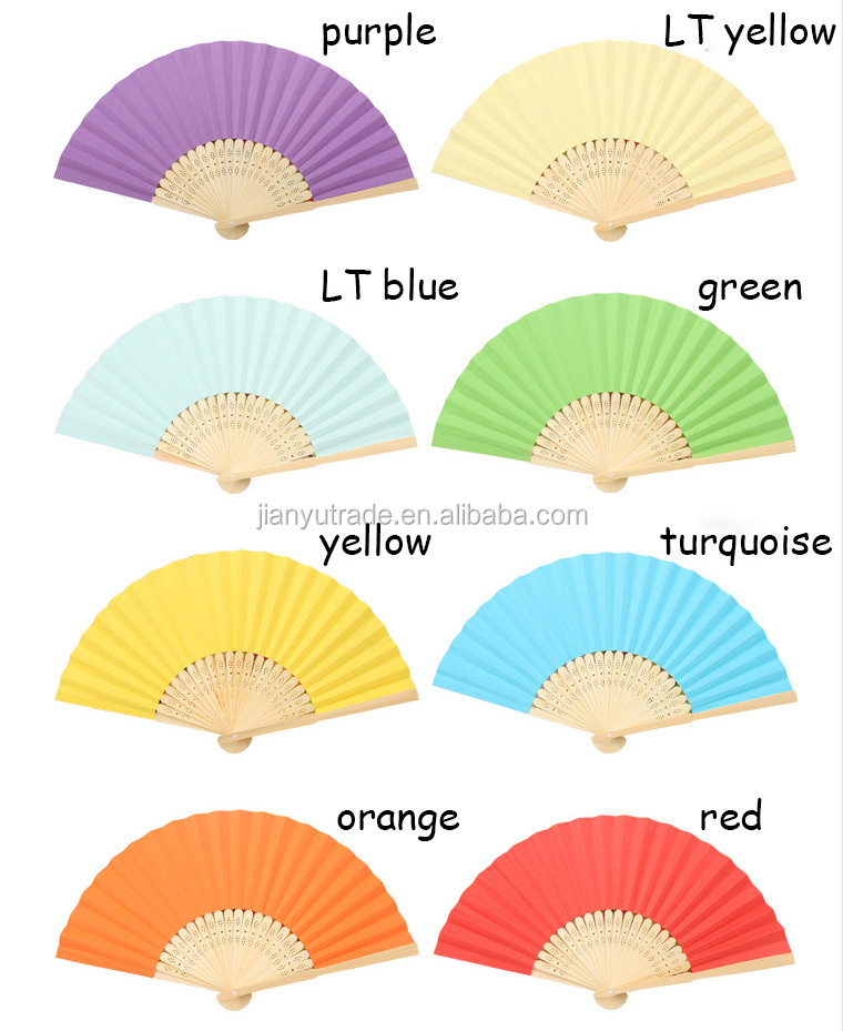 NEW wholesale bamboo wood rid foldable solid color paper fans for gift hand fan