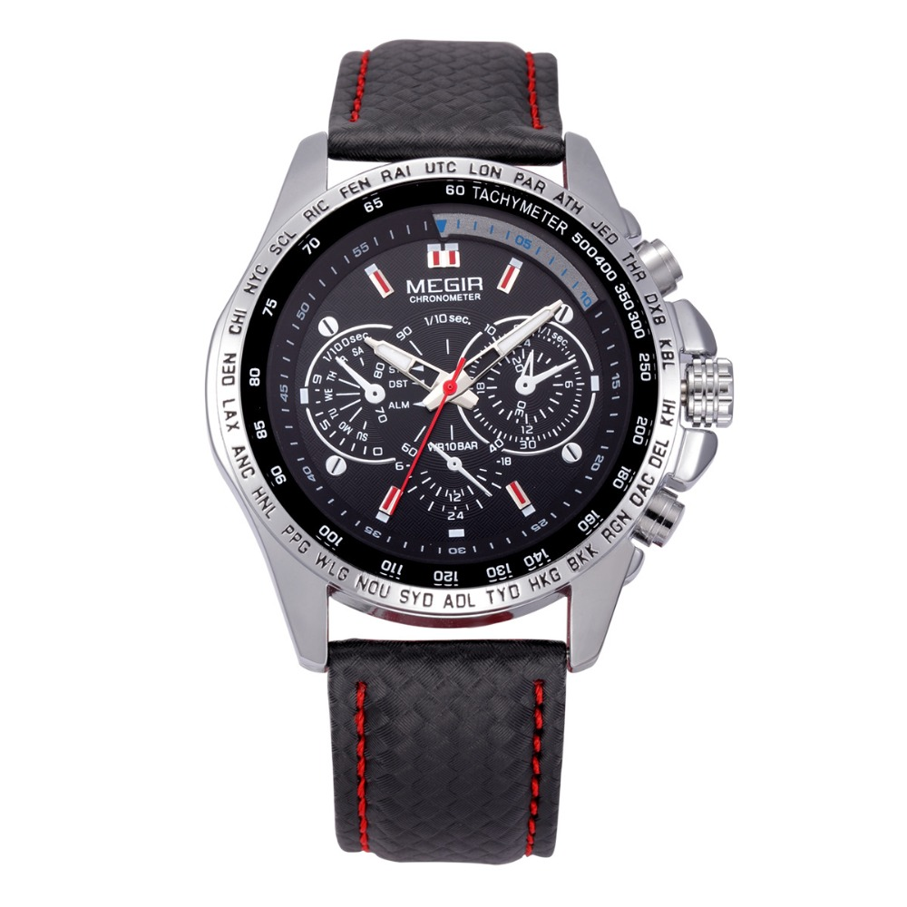 Megir <strong>1010</strong> Mens Sports Quartz Watches Top Brand Luxury Leather Strap Male Watches Men