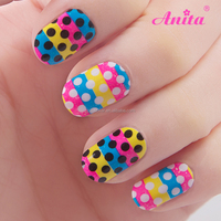 New products 2016 dotted rainbow color custom nail wrap decorated nails with cartoons free sample nail art design sticker
