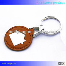 customised leather key holder/double rings leather keychain/metal and leather key chain