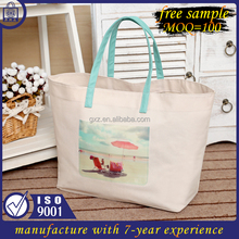free sample low MOQ cotton foldable weekender tote canvas bag