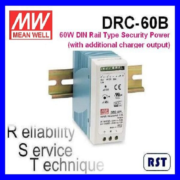 Meanwell DRC-60B 60W 27.6V 1.4A Single Output with Battery Charger (UPS Function) DIN Rail Power Supply