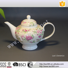 Hot selling porcelain tea pot with pink rose flower for home
