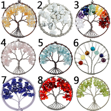 Natural Semi-Precious Stone Mixed Gemstone 5cm Tree Of Life Shape Necklace Pendant DIY Charm
