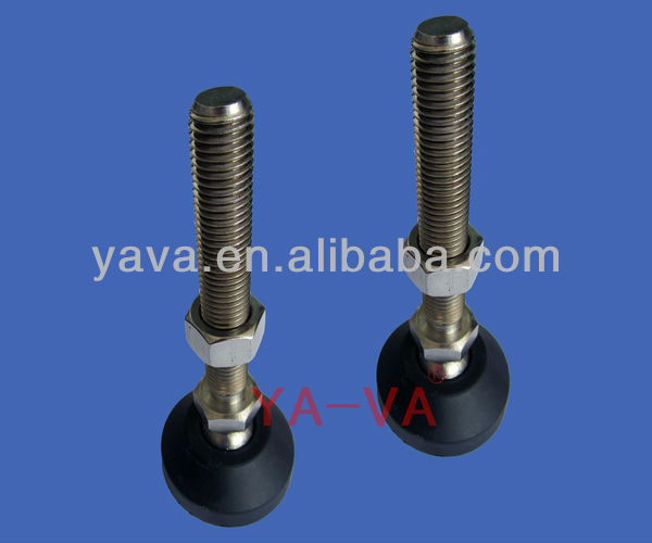 Adjustable / articulated foot leveler for conveyor