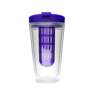 Plastic double wall travel mug with infuser