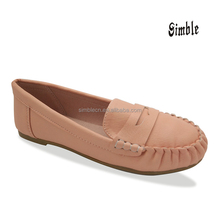 New design cheap fashion flats PU loafer shoes casual shoes for girl